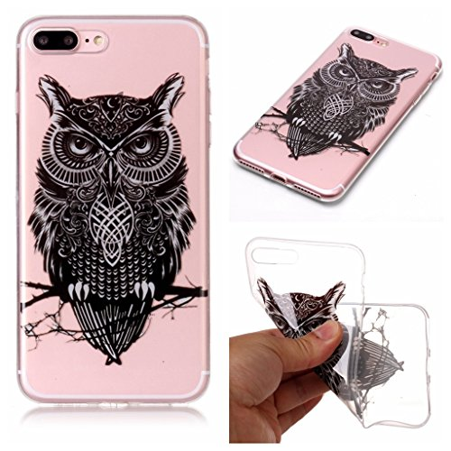 Custodia per iPhone 8 Plus, Custodia per iPhone 7 Plus ,JIENI Trasparente Protezione Morbido Art Datura fiori TPU Bumper Cover Silicone Flessibile Case per iPhone 8 Plus et iPhone 7 Plus XS73