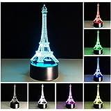 LOERO® Erstaunliche 3D Illusion Effekt LED Nachtlicht Eiffelturm LED Schreibtisch Tisch Nachtlicht...