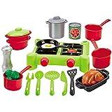 Spielzeug Campingkocher 26x20 cm mit Kochgeschirr und Lebensmittel • Set Kinder Spielküche Kaufladen Zubehör Kochen