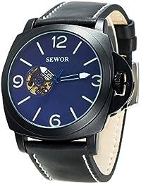 SEWOR reloj para hombre piel negocios automático reloj Full negro Funda Interruptor corona azul esfera esqueleto