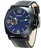 Sewor da uomo Business in pelle automatico orologio meccanico nero di calendario interruttore corona dell' orologio puntatore luminoso + scala