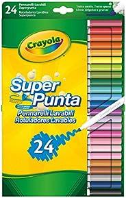 Crayola SUPERTIPS-Pennarelli Lavabili per Bambini a Punta Media, per Scuola e Tempo Libero, 24 colori, Assorti
