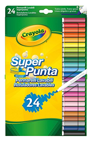 Crayola pennarelli lavabili, punta media, per scuola e tempo libero, colori assortiti, 24 pezzi, 7551-24