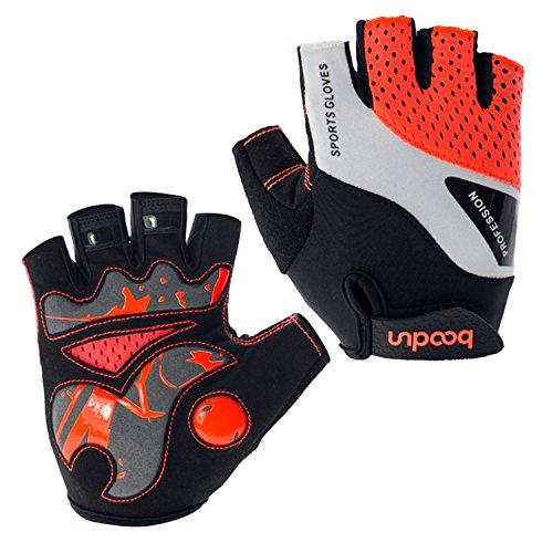 Eroilor Radfahren Handschuhe für Männer Frauen Half Finger Fahrradhandschuhe Atmungsaktive Anti-Rutsch-Handschuhe - Orange - M