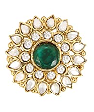 Divastyleme Green White Alloy Gold Plated Ring For Women