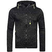 Oyamihin Autumn Winter Men's Hooded Coat Casual Fleece Coat Cardigan Fashion Zipper Long Sleeve Cardigan with Drawstring Hat - Black 3XL