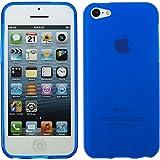 Coque en Silicone pour Apple iPhone 5c - mate bleu - Cover PhoneNatic Cubierta + films de protection