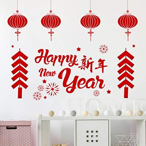 Yzybzglückliches Chinesisches Neues Jahr Laterne Firecracker Wandaufkleber Wohnkultur Wohnzimmer 30 * 90 Cm Wandtattoos Pvc Wandbild Kunst Diy Poster