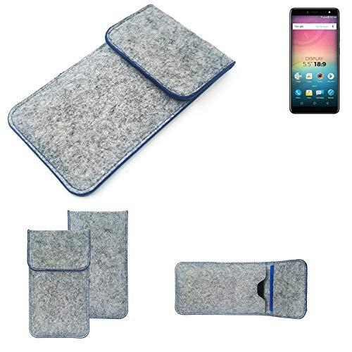 K-S-Trade® Filz Schutz Hülle Für -Allview V3 Viper- Schutzhülle Filztasche Pouch Tasche Case Sleeve Handyhülle Filzhülle Hellgrau, Blauer Rand