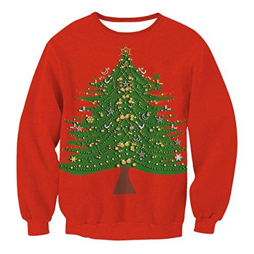 Noël Hommes Et Femmes Amoureux Lâche Grande Taille Style De La Rue Motif Imprimé Pull Col Rond Pull Pulls Vêtements De Baseball SWYL008