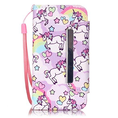 Cozy-Hut-iPhone-5C-LedertascheiPhone-5C-Hlle-Liebe-Pferd-Muster-Handyhlle-mit-Handschlaufe-Braun-Muster-Premium-Schutzhlle-Wallet-Case-Design-Lederhlle-Neu-Zubehr-im-Bookstyle-Cover-Schale-mit-Stnder-