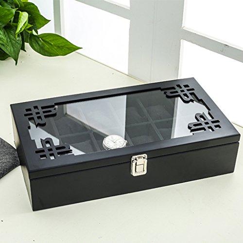 TGDY Holz Uhr Schmuck Armband Sammlung Display Geschenk Aufbewahrungsbox Holz Retro 12 HD Glas (37 * 20 * 9 Cm),Red