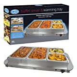 Quest 16500 Benross Stainless Steel 4 Four Compartment Buffet Server Warming Tray