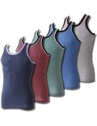 6er Pack Herren Unterhemden Achsel-Sport-Hemden melange farbig Übergröße
