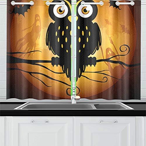 JIUCHUAN Halloween Eule Silhouette auf Mond Küche Vorhänge Fenster Vorhang Ebenen für Café, Bad, Wäscherei, Wohnzimmer Schlafzimmer 26 X 39 Zoll 2 Stück