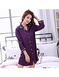 WXIN Camisa Blusa Pijama Camisón /Estudiante Hielo Chándal Seda Seda/ Xl/ Púrpura