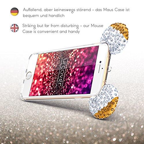 Urcover® Apple iPhone 7 Maus Ohren Handy Schutz-Hülle | TPU / Silikonhülle Bling Ear Cover Hell Blau Silber | Crystal Case | Bär Glitzer Girl Diamant Strass Schale Beige Silber