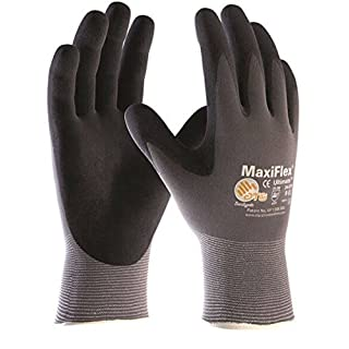 ATG Work Gloves MaxiFlex Ultimate 34-874/42-874 Nitrile Palm Coated (Pack of 10 Pairs), 9 - Large, Grey & Black