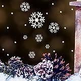 """Fensteraufkleber """"Schneeflocken und Punkte – Fensterbild– Sticker Winter Weihnachten Fenster / weiß /"""