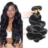 PURUN Tissage Bresilien en Lot pas Cher Ondule Brésilien Cheveux 3 Bundles Body Wave 300g Naturel Couleur de Cheveux Humains 24 26 28 pouces