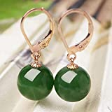 Zhiming Ohrringe-Ohrringe 18K Rose Gold Jaspis Ohrringe 10mm Jade Perlen Ohrringe Ohrringe