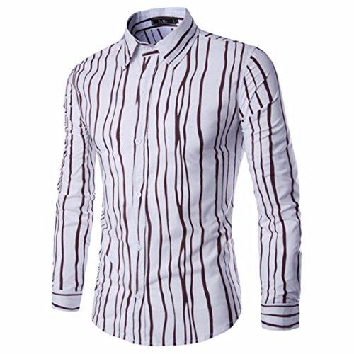 Men's Stripe Printed Long Sleeve Shirts Café