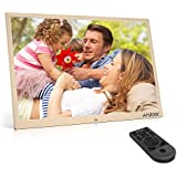 Andoer Cadre Photo Numérique 38,6cm (17 pouces) Haute Résolution 1440 * 900 HD 1080p en alliage d'aluminium Jouer automatique et aléatoire avec Télécommande (manuel en français)-Or