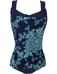 cff58b18da034f EwigYou Rückenfreies Retro Monokini mit Blumendruck Damen Einteiliger  Badeanzug mit Flachem Bauch Große…