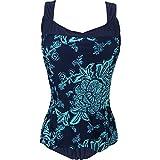 Rückenfreies Retro Monokini mit Blumendruck Damen Einteiliger Badeanzug mit Flachem Bauch Große Größen Bademode