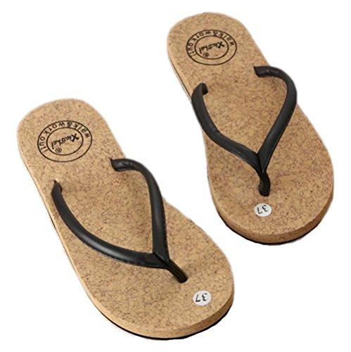 LBY Herren Flip Flops Strand Sandale zum Männlich Draussen Design Gemütlich Wasserdicht Rutschfest Hausschuhe, Schwarz, UK 9/EU 43 - Havaianas Design