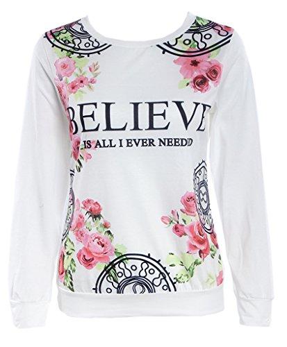 Smile YKK Femme Veste Tops Sweat-shirt Col Rond Manches Longue Imprimé Floral Blanc