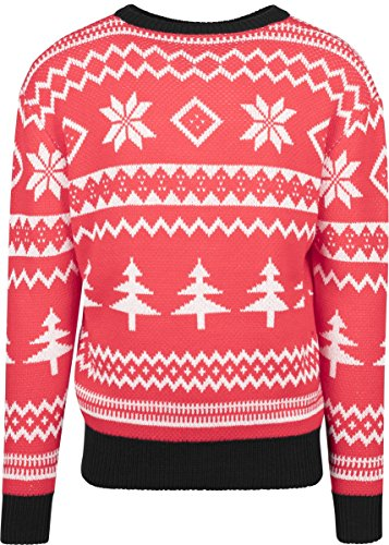Urban Classics Herren Ugly Sweater Holidays Christmas Crewneck Pullover - Farbe Red/White/Black, Größe S (Red Sweater Holiday)