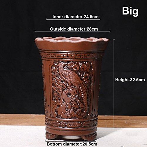 Nclon [style chinois] Yixing Argile pourpre Pot de fleur Clivia Bonsaï Les orchidées Plantes en pots Respirabilité Revêtement céramique Pot de fleur L-gros
