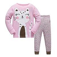 HIKIDS Girls Cute Cat Pyjamas Kids Long Sleeve Sleepwear Toddler Pjs Childrens 100% Cotton Nightwear Age 7 Years