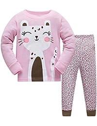 7261f2156e HIKIDS Mädchen Schlafanzug Mädchen Rosa Katze Flamingo Langarm Zweiteiliger Schlafanzug  Kinder Herbst…