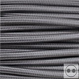 Textilkabel Stoffkabel grau , 2-adrig rund , 2x0,75