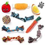 ASANMU Hundespielzeug, 9 Stück Kauspielzeug Welpenspielzeug Hund Spielzeug Set Baumwollknoten Spielset Seil Interaktives Spielzeug für Welpen Kleine und Mittlere Hunde...