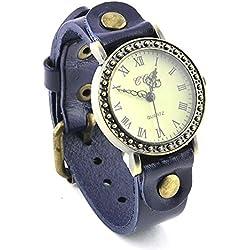 Armbanduhren Quarz Analog Römischen Ziffern Leder Modeschmuck Uhr Damen Herren Unisex rund Klassisch Elvire Blau Geschenk Unisex
