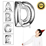 40 inch Giant Number Letter Balloons Helium Foil Mylar Balloon For Wedding Birthday Party Decorations,Glossy Silver,Letter D