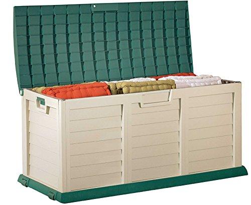 Unbekannt Kissenbox Jumbo XXL, Aufbewahrungsbox für Gartenstuhlauflagen, grün/beige, Freizeitbox...