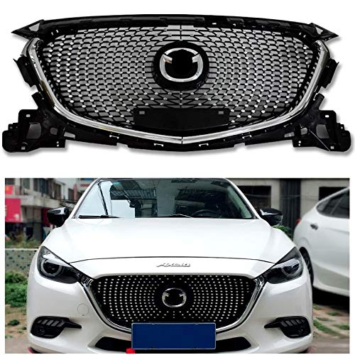 1 stücke Diamant Front Racing Grill Grills ABS Stoßstange Mesh MaskTrims Abdeckung PASSEND FÜR MAZDA 3 AXELA 2017 2018 GRILL AUTO STYLING (Mazda 3 Grill)