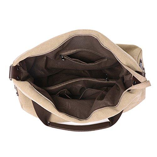 Moonsister Einfachen Beiläufig Große Kapazität Canvas Umhängetasche für Damen Mädchen, Schultertasche Reise Strand Schultertasche Tasche Handtasche, Schwarz Beige