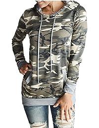 FEITONG Impresión para mujer de camuflaje Bolsillo del suéter con capucha Sudadera remata la blusa