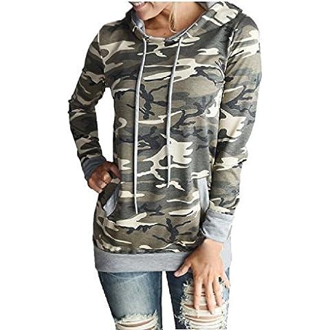 FEITONG Impresión para mujer de camuflaje Bolsillo del suéter con capucha Sudadera remata la