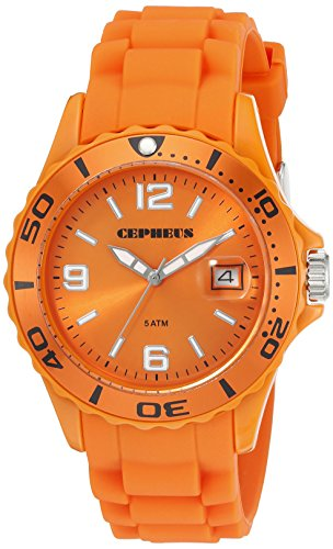 Cepheus - CP603-090E-1 - Montre Homme - Quartz Analogique - Bracelet Silicone Orange