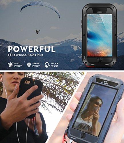 Wasserdichte Schutzhülle für Apple iPhone 6S + (iPhone 6S Plus), Marke Love Mei [gerade Stil] Aluminium Material mit Gorilla Glas Display Cover * 2Jahre Garantie * rot