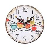 Zarupeng Eule Kleine Wanduhr, Vintage Style Runde Uhr Nicht-tickende Stille Nachahmung Holz Wanduhr für Home Küche Office Schlafzimmer (13 x 13 cm, E)