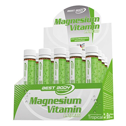 Best Body Nutrition Magnesium Vitamin Liquid, Tropical Geschmack, 20 Ampullen à 25 ml (500 ml) (Training Vitamine)