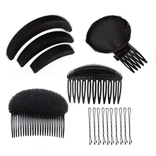 1 Set 5 x schwarze Haar-Styling-Kits Bump It Up Volumen Haar Basis Pads Styling Werkzeug Haar Kamm Haarnadeln Pferdeschwanz Roller Ringe Halter Haarspangen Clips für Frauen Mädchen (Maker Stirnband Kit)