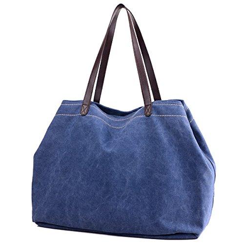 Unfading Damen Leinwand Einfach Mode Freizeit Große Kapazität Licht Einzelne Schulterbeutel Blue1